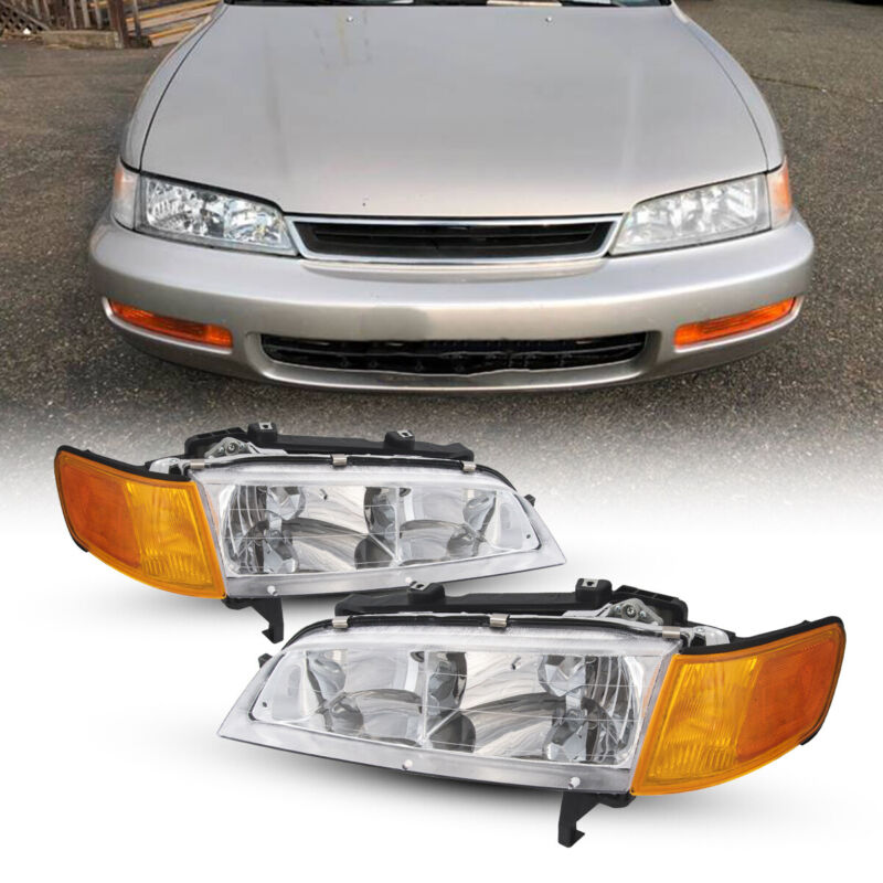 For Honda Accord 1994-1997 Front Headlights Assembly Left + Right Pair Headlamps