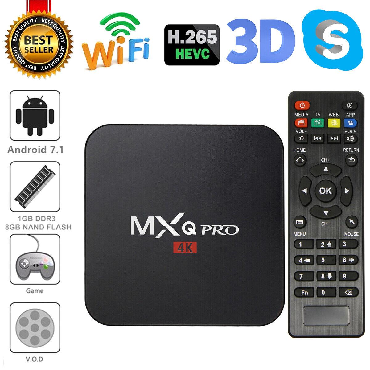 MXQ Pro 4K Ultra HD 64Bit Wifi Android 7.1 Quad Core Smart T