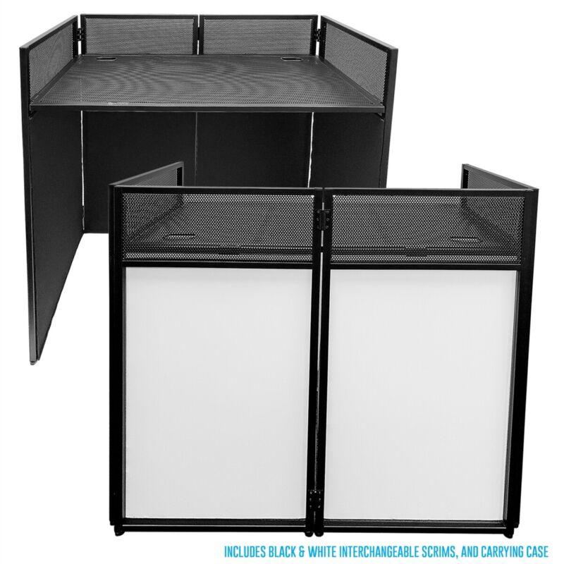 AxcessAbles ES-01 Portable DJ Event Workstation w/ Folding Steel Frame & Scrims