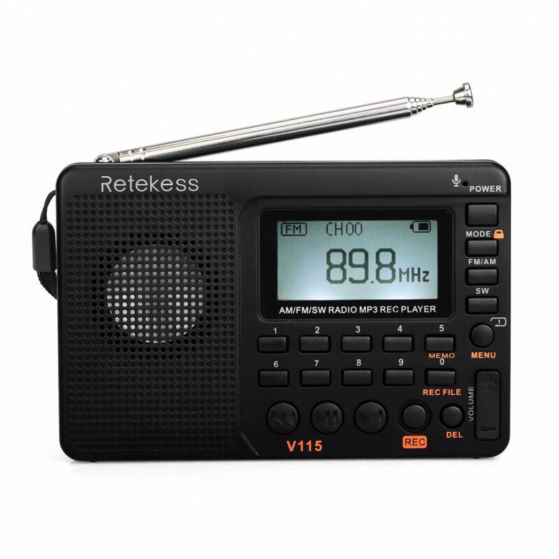 Retekess V115 Portable FM/AM/SW Radio Digital MP3 Player Rechargeable Speaker US