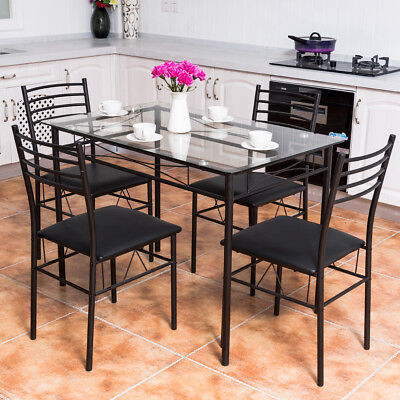 5PC Dining Set Glass Top Table & 4 Upholstered Chairs Kitchen Room Furniture New