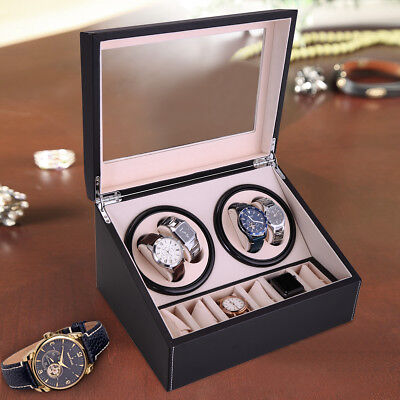 Leather Watch Winder Storage Auto Display Case Box 4+6 Automatic Rotation -