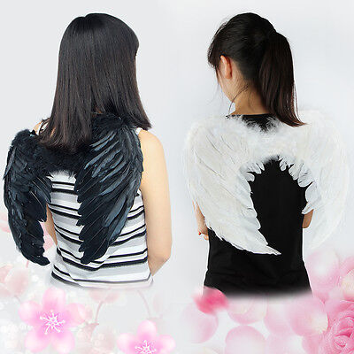 Christmas Kid Feather Angel Wings Child Costume With Halo Black/White 35-45cm