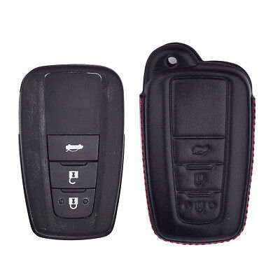Black Leather Remote Key Case Cover Bag Keychain For Toyota C-HR CHR 2017-2018