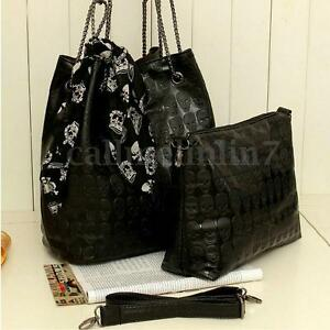 2PCS Women Punk Skull Handbag Crossbody Shoulder Bag Satchel With Scarf Set UK