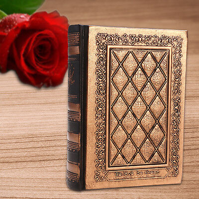 Bronze Journal Diary Notebook Leather Hard Cover Blank Paper Sketchbook 416Pages