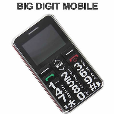 NEW BLACK Big Digit Mobile Phone With SOS Button Elderly Unlocked Life Line