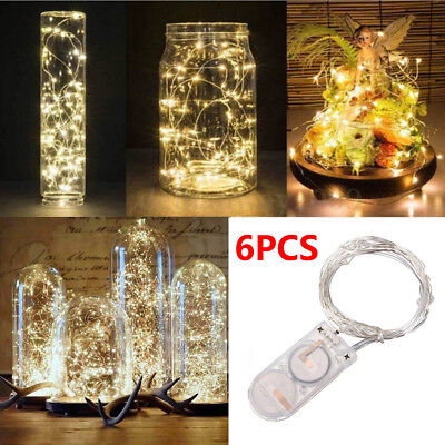 6PCS 2M 20 LED Copper Battery Operated Wire String Fairy Lights Wedding Decor - Lights Battery Operated