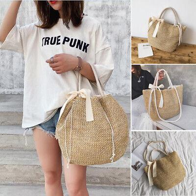 Fashion Women Rattan Straw Woven Bag Wicker Basket Tote Summer Beach Large Purse Straw Woven Tote