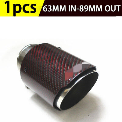 "Red Carbon Fiber Exhaust Tip Muffler Stainless Steel Car Tail Pipe 2.5 ""Inlet"