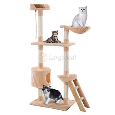 New Beige Cat Tree Tower Condo Scratcher Furniture Kitten Pet House Hammock 60