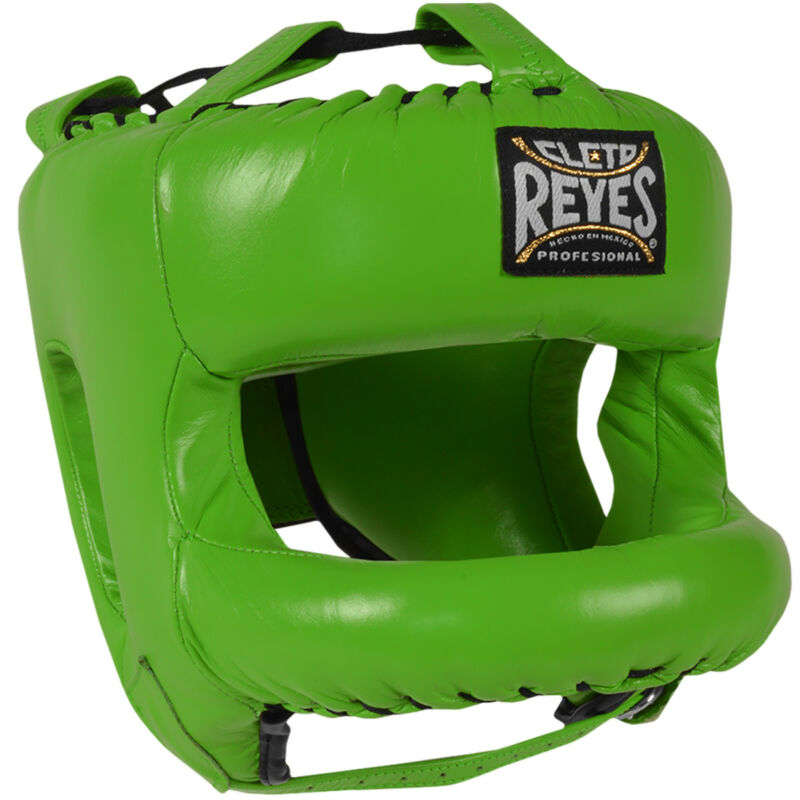 Cleto Reyes Redesigned Leather Boxing Headgear with Nylon Face Bar -Citrus Green