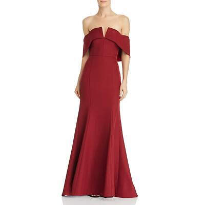 Jarlo Womens Harlow Red Off-the-shoulder Hi-low Evening Dress Gown 6 S Bhfo 4605