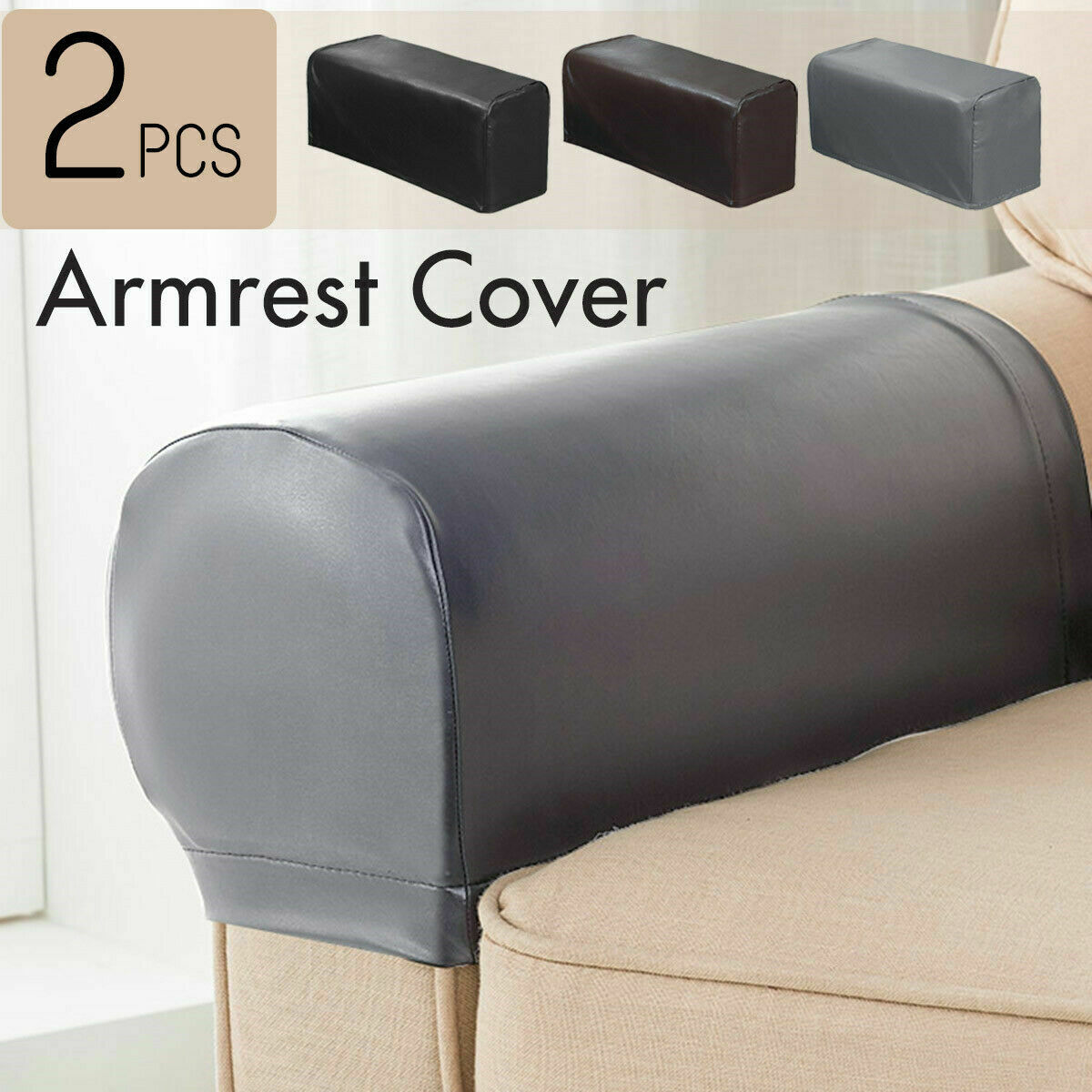 2Pcs/set PU Leather Sofa Armrest Covers For Couch Chair Arm