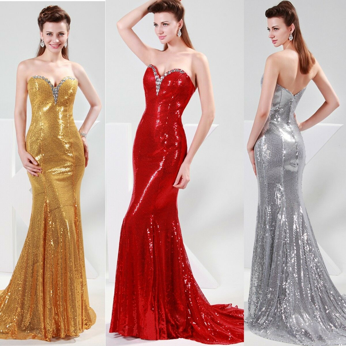 Amazing Sequins Sexy Long Formal Prom Party Ball Gown Cocktail Evening Dresses
