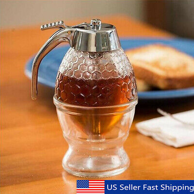 200ML Acrylic Clear Pot Honey Dispenser Container Hive Spice Holder Bee   ❤ US! Home & Garden