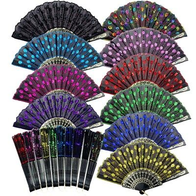 Folding Hand Fan - 12pcs Summer Folding Peacock Shining Sequins Hand Fan Fabric Decor Wedding Lots