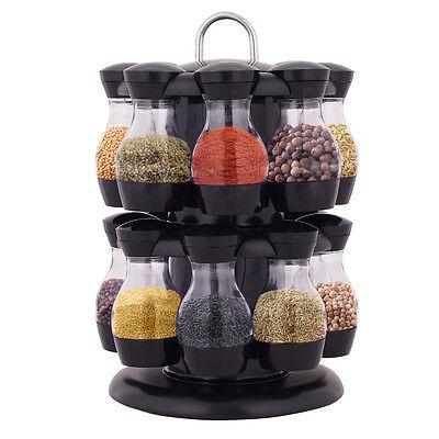 16 Jar Revolving Spice Rack Herb Rotating Countertop Storage Organization New