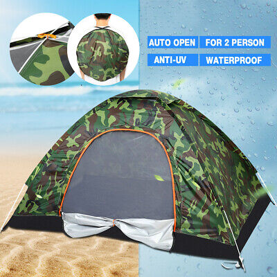 US Outdoor Camping Waterproof 4 Season 2 Person Folding Tent Camouflage Hiking