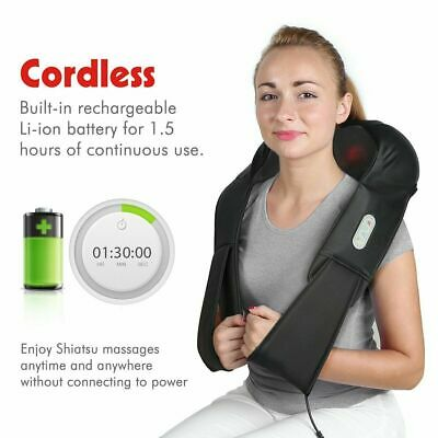 Cordless Shiatsu Back and Neck Shoulder Kneading Massager Rechargeable with Heat