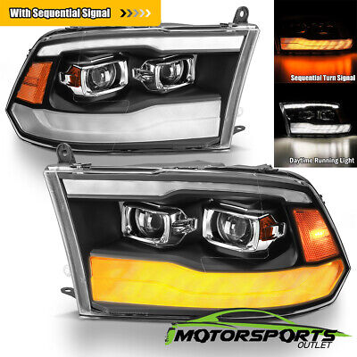 [Sequential Signal]For 09-18 Dodge Ram 1500 2500 3500 DRL Projector Headlights