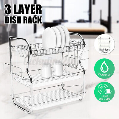 3 Tier Dish Drainer Drying Rack Kitchen Storage Stainless Steel Large Capacity