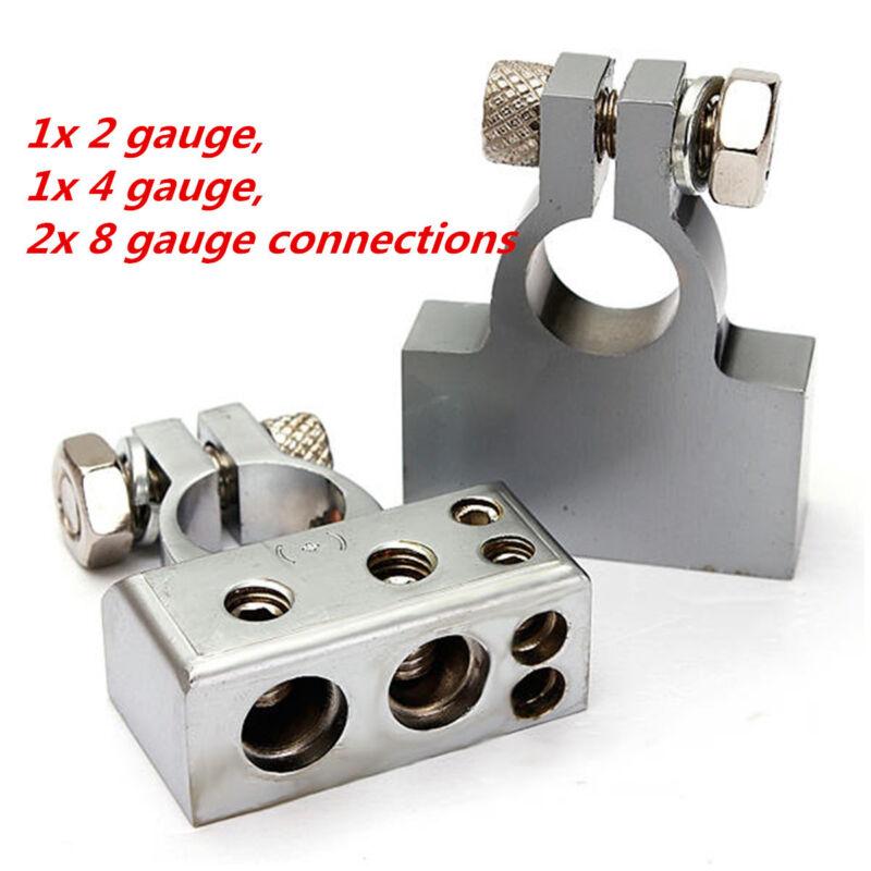 Pair silver Tone Car Postive Negative Battery Terminals Clamp 2 4 8 Gauge Car