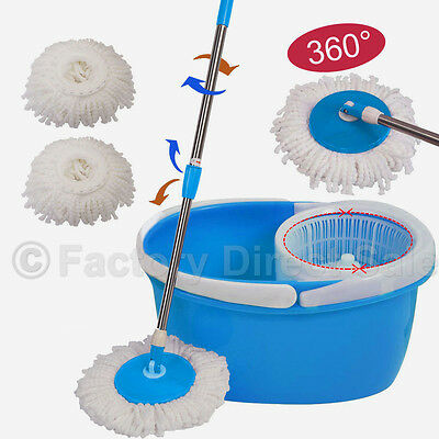 360  Rotating Head Easy Magic Floor Mop Bucket 2 Head Microfiber Spinning Blue