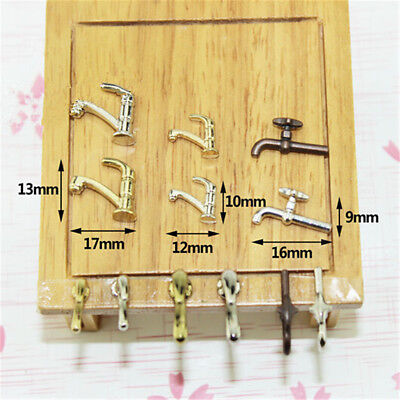 5X 1:12 Miniature Alloy Metal Water Tap Toy Dollhouse DIY Furniture Accessories