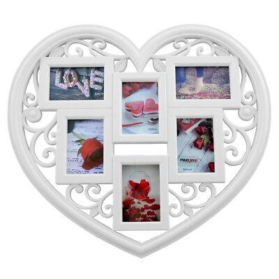 men Rahmen Collage Herz Herzform für 6 Fotos P-048 weiß (Herz-rahmen Für Fotos)
