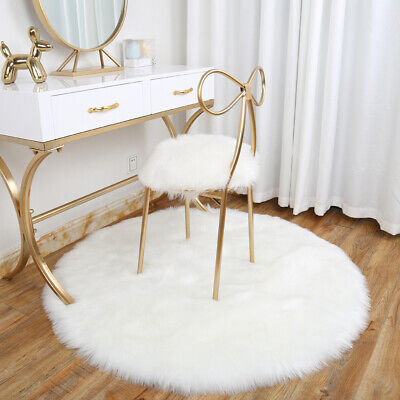US Fur Area Rugs Plain Fluffy Round Pad Carpet Hairy Bedroom