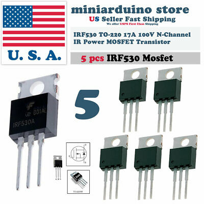 5pcs Irf530 Ir Power Mosfet N-channel 17a 100v Transistor
