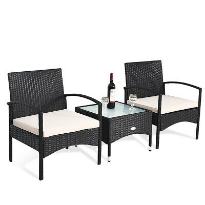 3 PCS Patio Wicker Rattan Furniture Set Coffee Table & 2 Rat