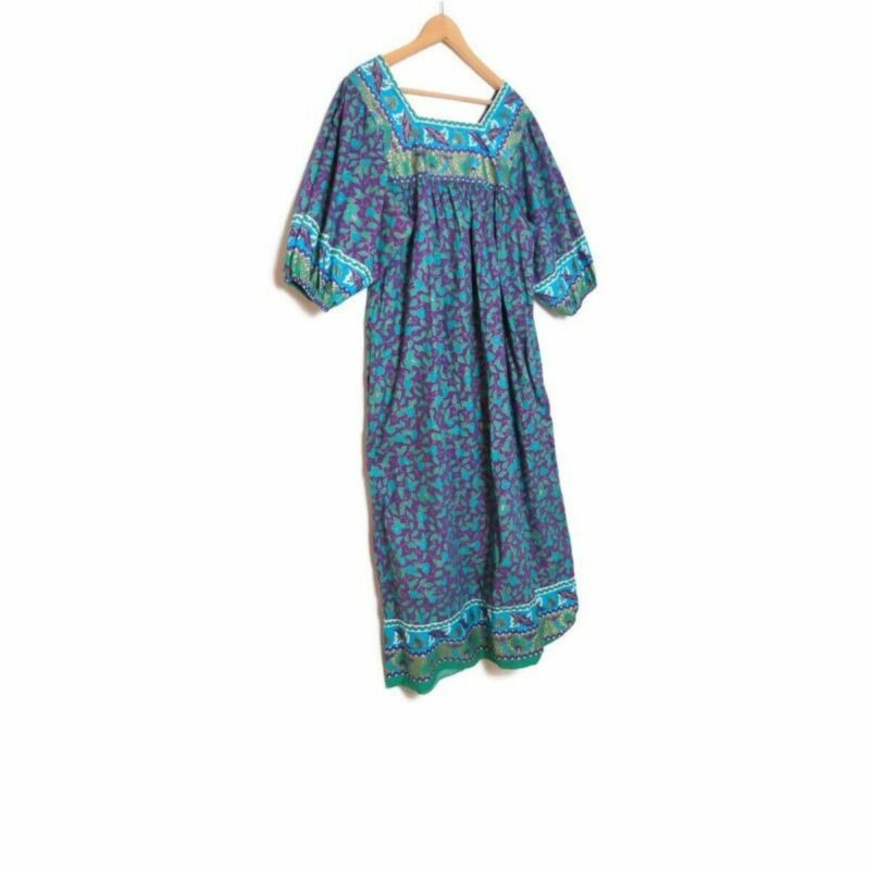 Vintage Batik India Puff Sleeve Dress M