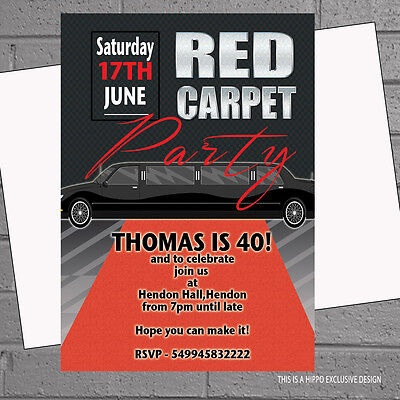 Hollywood Themed Birthday Invitations (12 x Hollywood Birthday Party Invitations Red Carpet VIP Themed |)