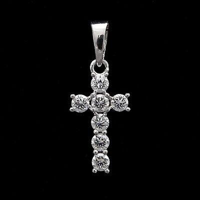 0.25CT Brilliant Created Diamond Cross Pendant 14K White Gold Crucifix Round Cut