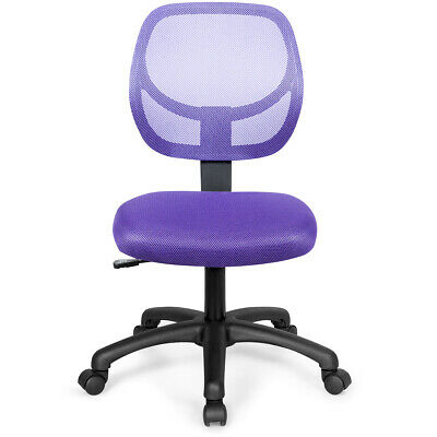 Office Chair Low-back Mesh Armless Design Computer Desk Chair Adjustable Purple