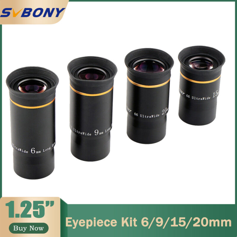 """1.25"""" Ultra Wide Angle 66° 6/9/15/20mm Eyepiece Kit Lenses for Astro Telescopes"""