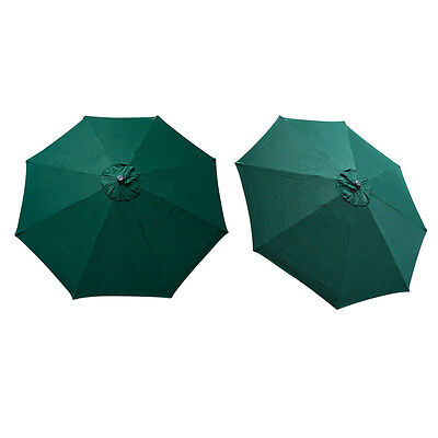 Replacement Cover Canopy 9 FT 8 Ribs Umbrella Green Top Patio Market Outdoor