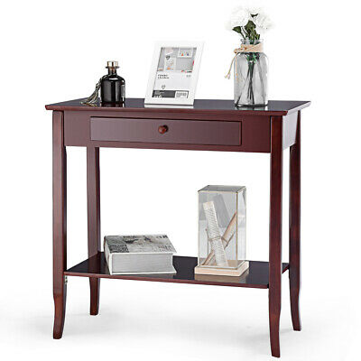 Console Table Classic 2 Tier Porch Table  Lower Shelf Drawer