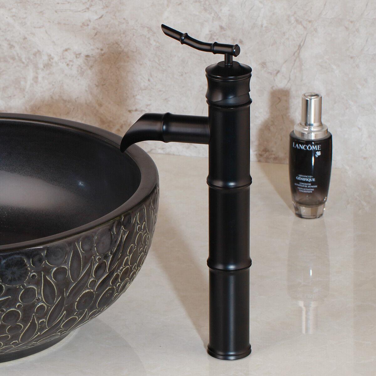 Black Bamboo Bathroom Faucet Single