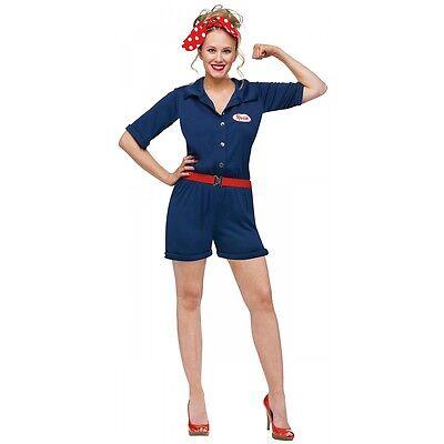 Rosie the Riveter Costume Adult 1940s Halloween Fancy Dress