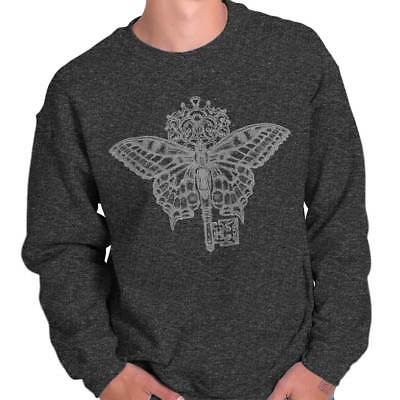 Butterfly Key Symbol Spiritual Graphic Gift Sweat Shirt Sweatshirt For Womens (Butterfly Sweatshirt)