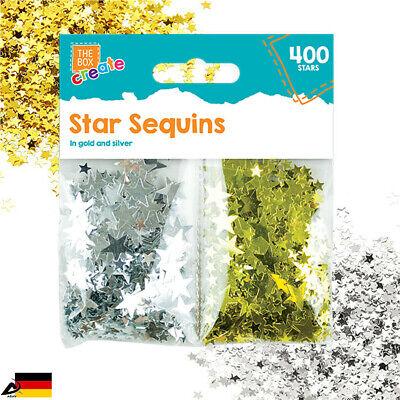400 Glitzer Sterne Pailetten Gold Silber Basteln Flitter Sterne Verzieren Deko