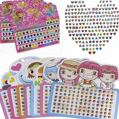 GT 1 Sheet Kid Girl Crystal Stick Earring Sticker Toy Body Bag Party Jewellery