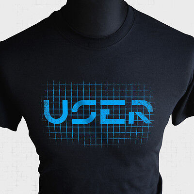 User T Shirt Tron Retro Sci Fi Movie Themed MCP Flynn Light Cycle Cool ()