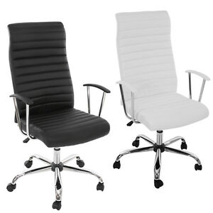 fauteuil chaise de bureau cagliari ergonomique simili cuir noir blanc ebay. Black Bedroom Furniture Sets. Home Design Ideas