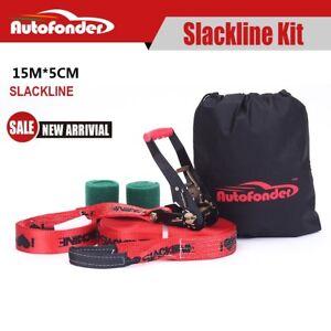 Autofonder 15M Slackline Kit with Tree protectors and Carry bag Slack line set