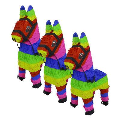 Handmade Mexican Fiesta Mini Donkey Pinata Burro Piñata 3pc LOT (Pinata Donkey)