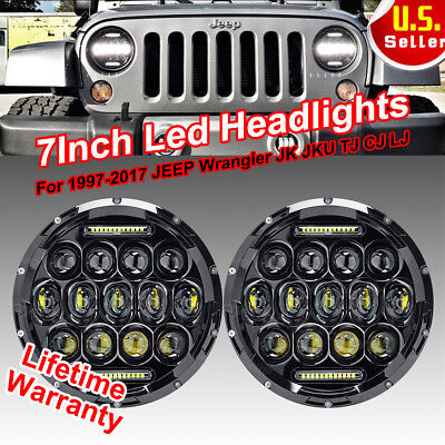 "2X7"" Round 150W Total CREE LED Headlights Hi/Low 97-17 JEEP Wrangler JK TJ CJ H"
